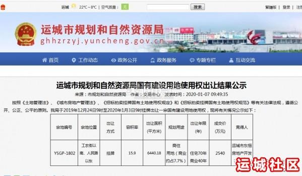 2020年河南11选5遗漏号码第一宗土地拍买结果